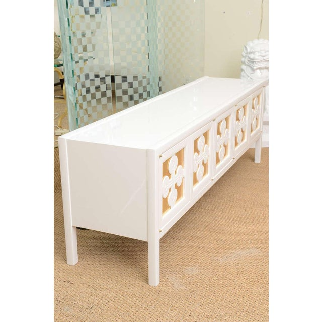 Contemporary White Lacquered and Gold Leaf Low Long Console or Cabinet For Sale - Image 3 of 10