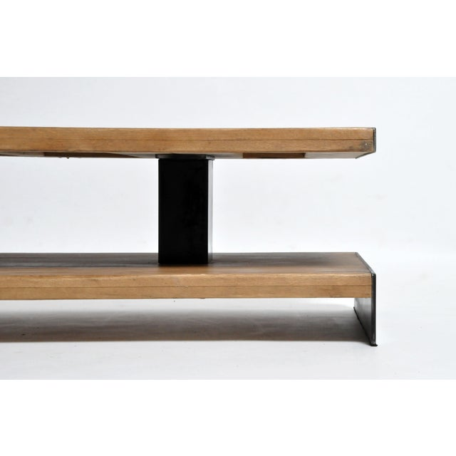 Black Modern Oak Wood Coffee Table With Metal Trim For Sale - Image 8 of 10