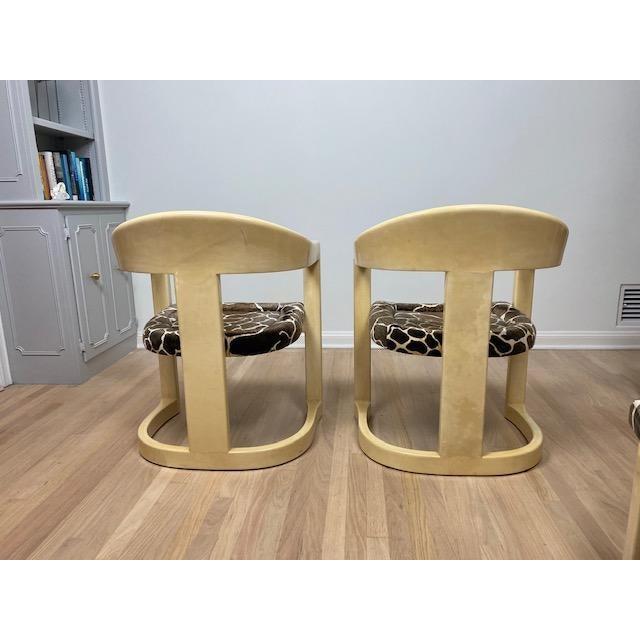 Cream Vintage Karl Springer Onassis Goatskin Chairs - Set of 4 For Sale - Image 8 of 11