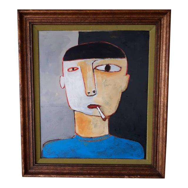 Man Smoking Figurative Portrait Painting For Sale