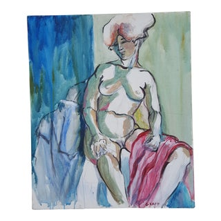 Abstract Expressionist Of A Nude Female Figure .