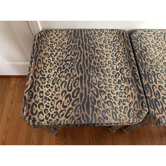 Neoclassical Hand Painted Faux Leopard Side Tables - a Pair For Sale In Los Angeles - Image 6 of 10