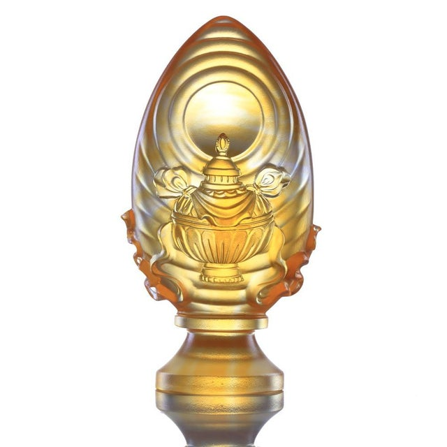 Contemporary Crystal Limited Edition Feng Shui Vase of Treasures-Auspicious Wishes, Eight Auspicious Offerings, Light Amber For Sale - Image 3 of 3