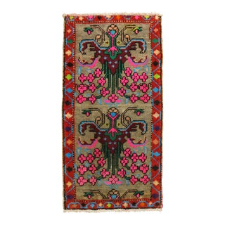 Bright Vintage Turkish Rug, 1'5'' X 2'7'' For Sale