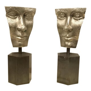Arteriors Modern Fleming Face Metal Bookends Pair For Sale