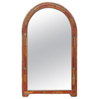 Moroccan Orange Dye Arched Bone and Wood Mirror For Sale