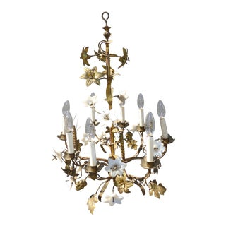 Vintage Italian ~ Gold Gilt Floral Chandelier Hanging Light With Milk Glass Flowers