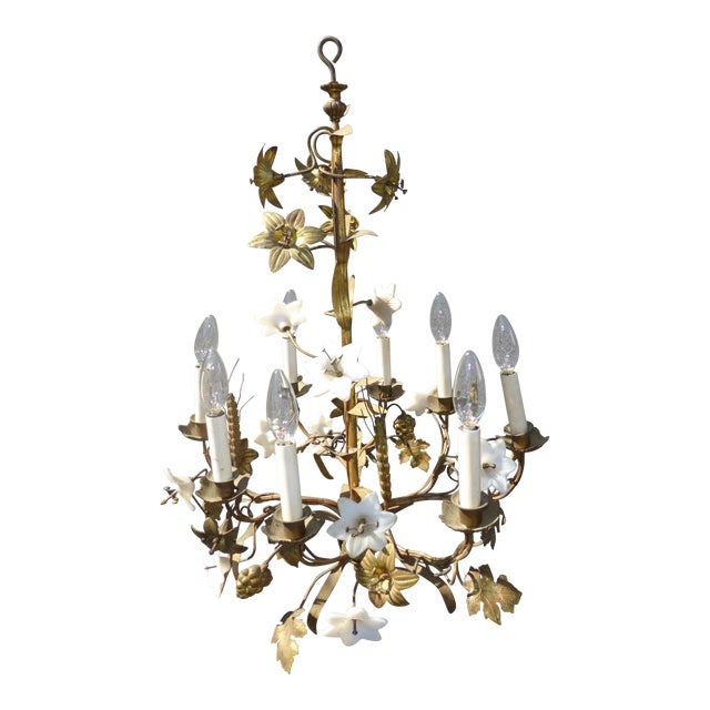 Vintage Italian Gold Gilt Fl Chandelier Hanging Light With Milk Glass Flowers