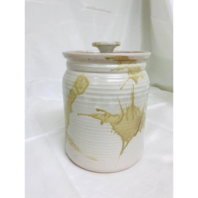 Brown Modern Contemporary Glazed Lidded Crock Canister Studio Pottery Jar For Sale - Image 8 of 8