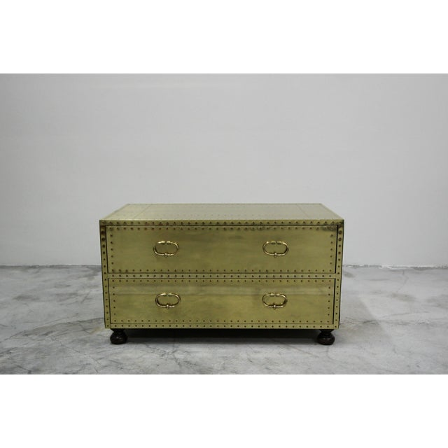 Boho Chic Vintage 2 Drawer Brass Studded Coffee Table Chest Made in Spain by Sarreid For Sale - Image 3 of 7