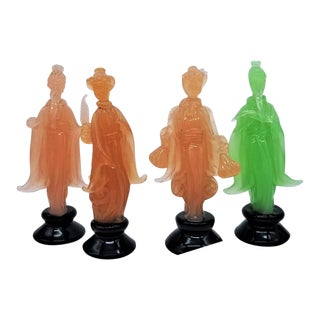 1967 Murano Seta (Silk) Glass Figurines by Ermanno Nason for Cenedese - Group of 4 For Sale
