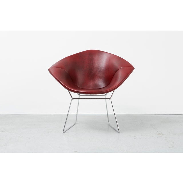 "Diamond chair designed by Harry Bertoia for Knoll USA, d 1952 / c 1970s reupholstered in faux leather + chrome 30 ⅝"" h x..."