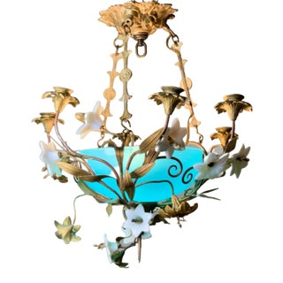 Delicate White Murano Flowers With Blue Glass Chandelier For Sale