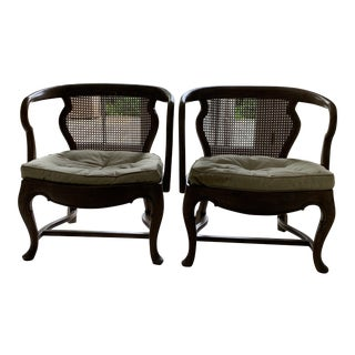 Vintage Thomasville Cane Back Chairs With Tufted Seats - a Pair For Sale