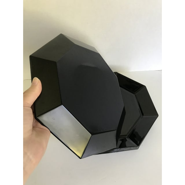 1980s Vintage Arcoroc French Black Octagonal Plates - Set of 5 For Sale - Image 5 of 6