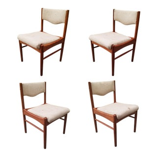 1960s Vintage Danish Modern Teak Dining Chairs - Set of 4 For Sale