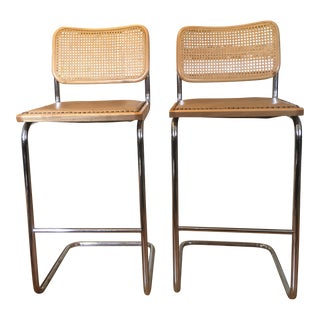 Milo Baughman Cane Back Cantilevered Chairs - A Pair