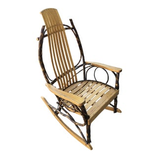 Late 20th Century Rustic Adirondack Oak and Hickory Twig Rocking Chair For Sale