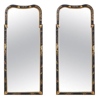 Pair of Chinoiserie Queen Anne Style Parcel-Gilt Mirrors For Sale