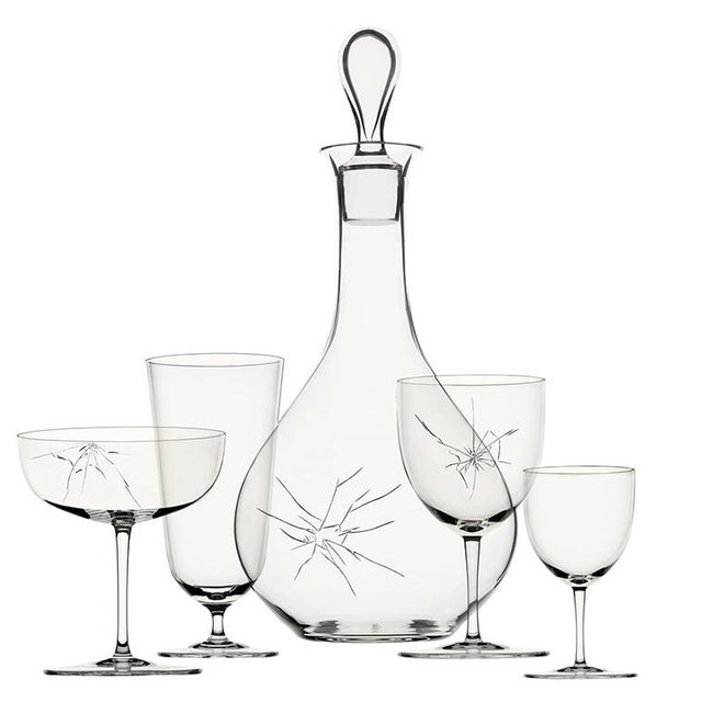 """Crack"" C mouth-blown glass decanter with hand-engraved ""Crack"" decoration designed by Murray Moss. There are 4 different..."