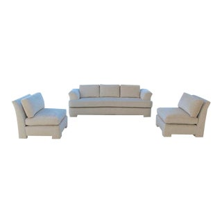 Marge Carson Hollywood Regency Sofa and Chairs Redone in Knoll Summit Fabric For Sale