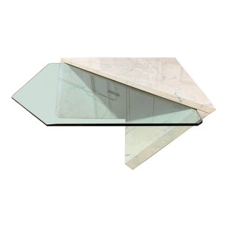 Contemporary Designs Custom Faux Marble + Floating Glass Coffee Table For Sale