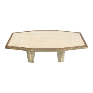 Travertine and Marble Tow-Tone Boat Shape Coffee Table For Sale
