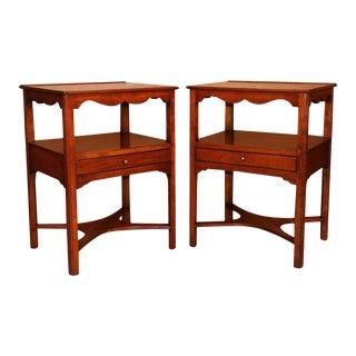 Pair Henkel Harris Solid Cherry Nightstands Tables For Sale
