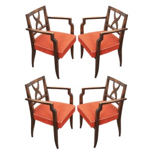 French Mid-Century Walnut Armchairs- Set of 4 For Sale