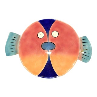 Signed Art Pottery Plate Platter Dish 2 Fish Face to Face For Sale