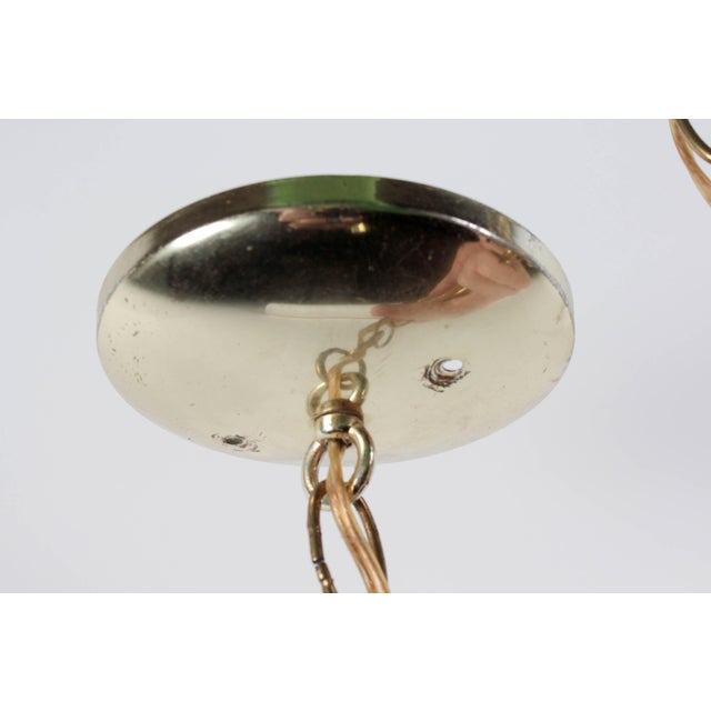 Brass and Frosted Pattern Glass Ceiling Pendant Lamp - Image 6 of 6