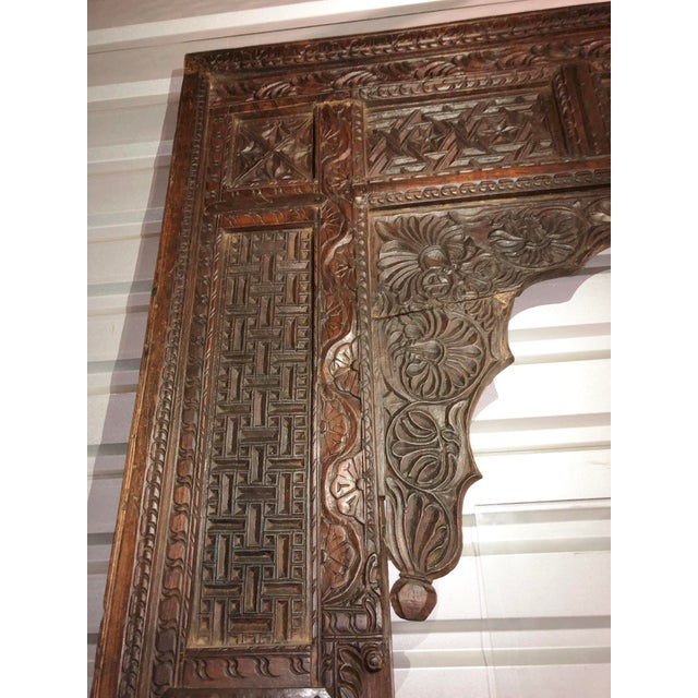 Late 19th Century Antique Indian Carved Welcome Gate Teak Arch For Sale - Image 5 of 12