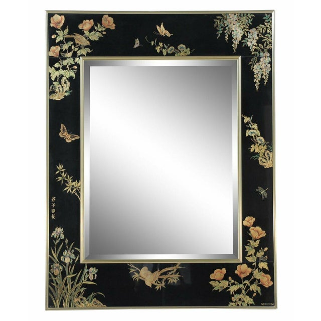 LaBarge Chinoiserie Style Eglomise Black Mirror For Sale - Image 10 of 10