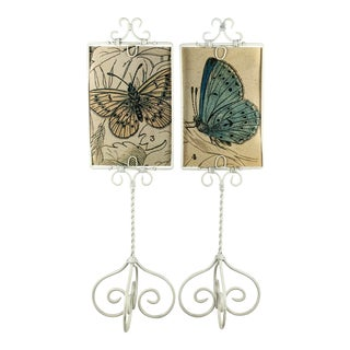White Enameled Metal Menu, Picture, Postcard Display Frame Stands - a Pair For Sale