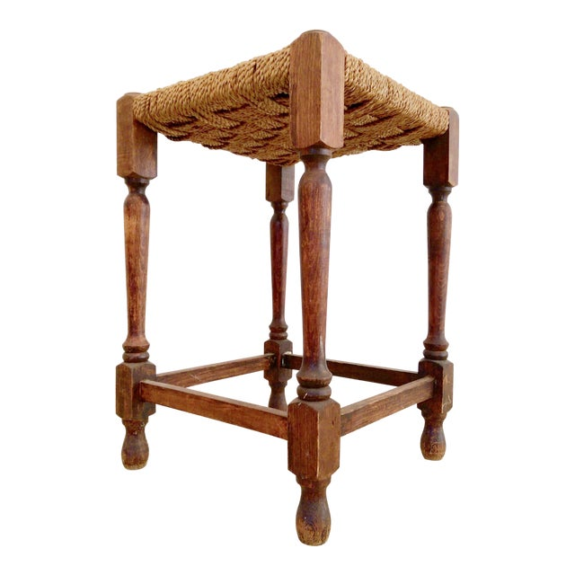 19th-C. Turned Wood & Rope Stool For Sale