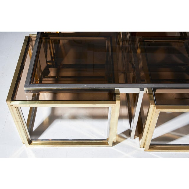 Maison Charles, Paris, Large Brass and Chrome Square Coffee Table For Sale - Image 6 of 8