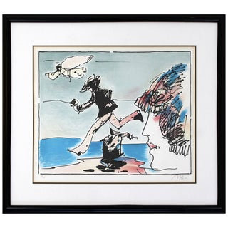 Mid-Century Modern Framed Print by Peter Max Running With Flying Sage Signed For Sale
