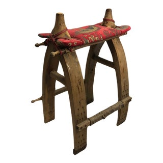 Antique Authentic Egyptian Wood Camel Saddle Stool Chair Stand