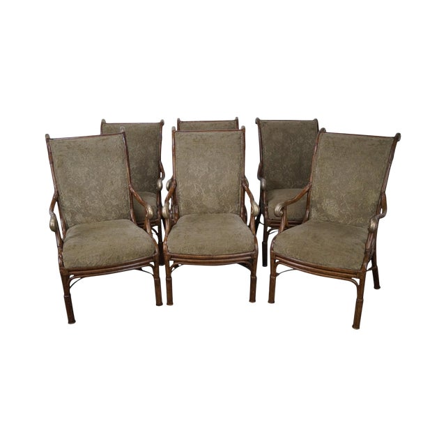 Acacia Home & Garden Rattan Arm Chairs - Set of 6 For Sale