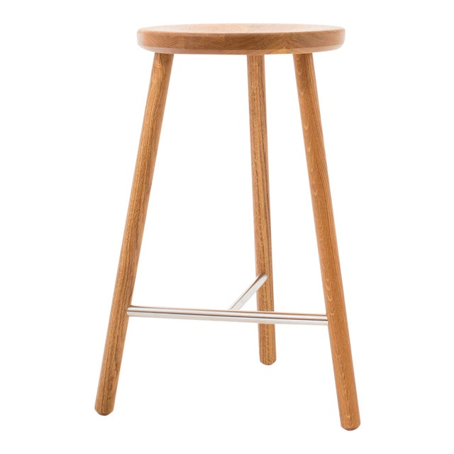 Steven Bukowski Contemporary Scout Stool in White Oak and Nickel For Sale