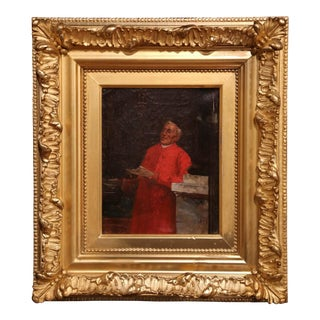 19th Century French Oil on Canvas Priest Painting in Gilt Frame For Sale