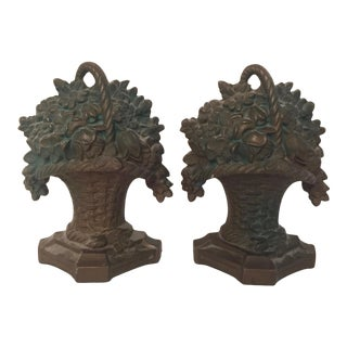 Vintage Cast Iron Flower Basket Bookends - a Pair For Sale