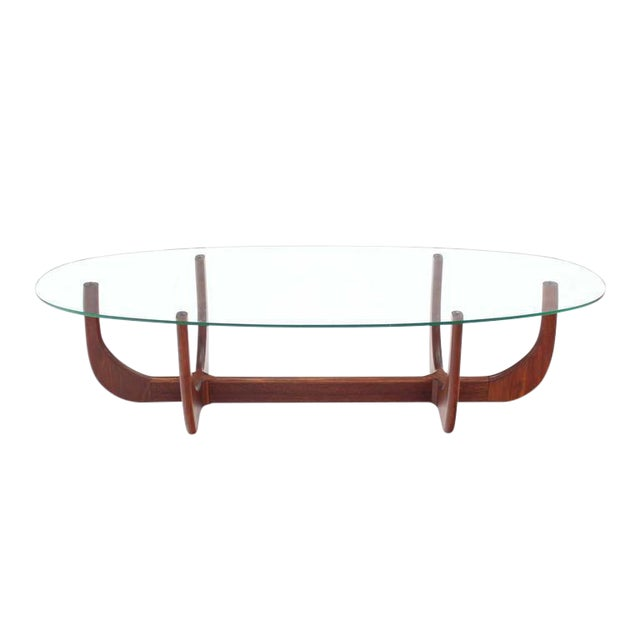 High End Midcentury Oval Glass Top Sculptured Walnut Base Coffee