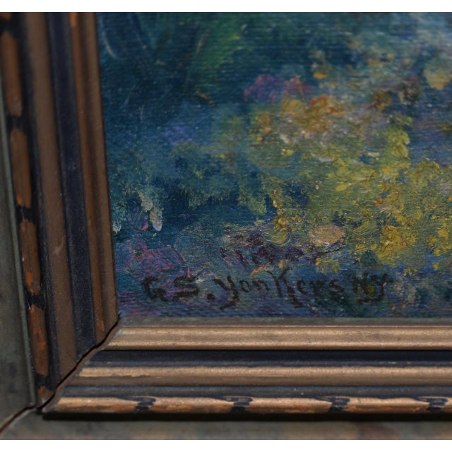 """Late 19th Century George Gardner Symons (1863-1930) """"Yonkers, Ny"""" Original Oil Painting C.1890s For Sale - Image 5 of 7"""