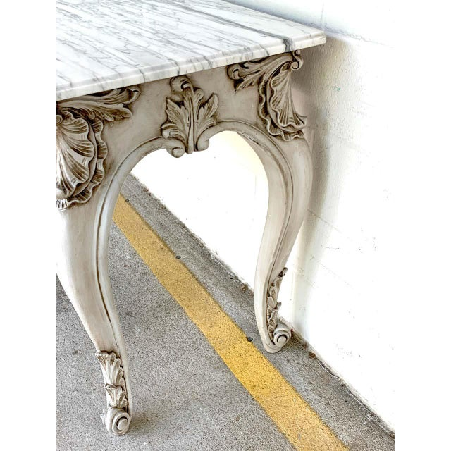 Wood French Neoclassical Grey Painted Marble-Top Console Table For Sale - Image 7 of 10