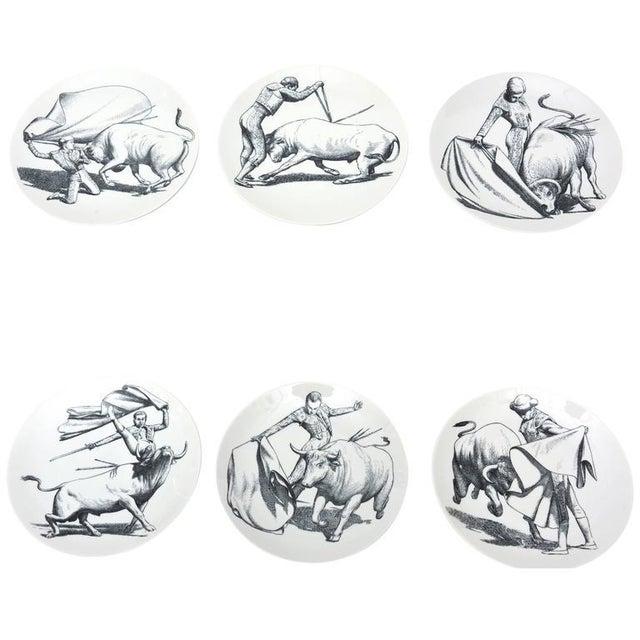 Vintage Italian Piero Fornasetti Porcelain Bullfight Dinner Plates - Set of 6 For Sale - Image 11 of 11