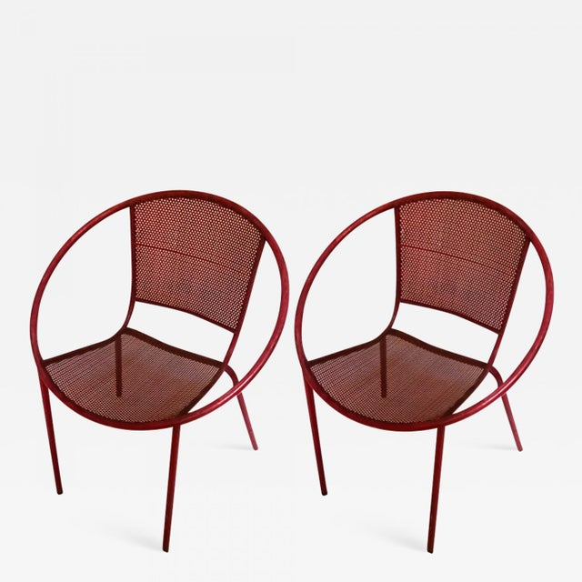 Mathieu Mategot Style Charming Pair of Outdoor Chairs in Vintage Condition For Sale - Image 6 of 6