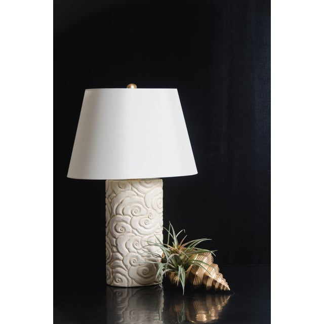 Cloud Design Table Lamp Cream Lacquer Hand Carved Silk Shade Limited Edition Each piece is individually crafted and is...