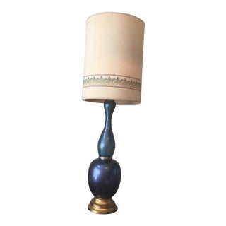 Mid Century Tall Multi-Colored Blue Glass Table Lamp With Shade For Sale