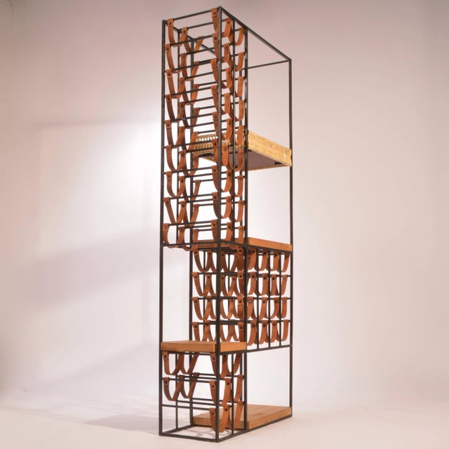 Mid-Century Modern Arthur Umanoff Leather and Iron Wine Rack For Sale - Image 3 of 8